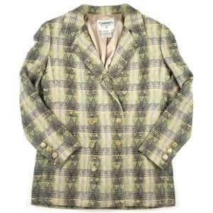 CHANEL Tweed Double Breasted Gold Green Blazer M